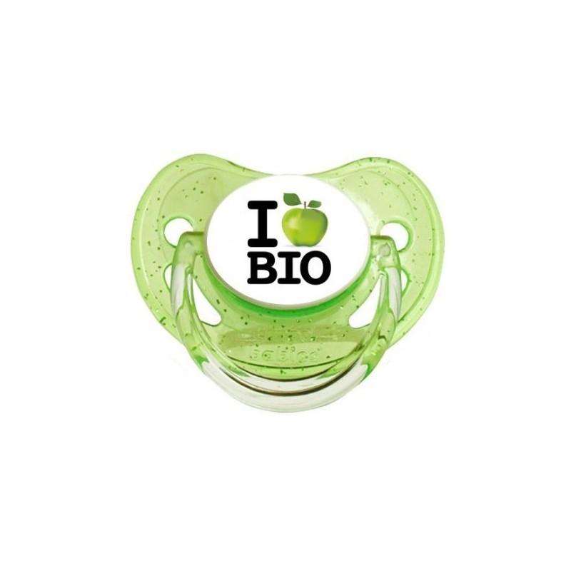 Sucette personnalisée j'aime / i love I Love Bio sucette personnalisée