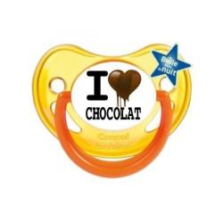 j'aime / i love I Love Chocolat sucette personnalisée sucette bébé personnalisée en couleur