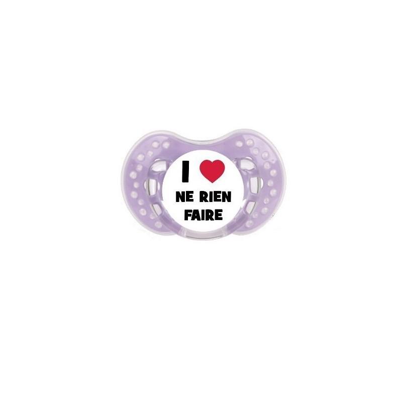 Tétine j'aime / i love prénom couleur I Love ne rien faire sucette personnalisée-- sucette j'aime / i love prénom I Love ne r...