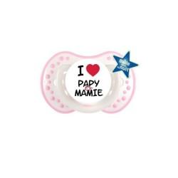 Sucette personnalisée j'aime / i love I Love Papy et Mamie sucette personnalisée Bébé Création