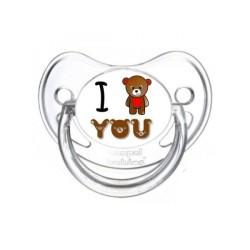 Tétine j'aime / i love prénom couleur I Love you Ours sucette personnalisée-- sucette j'aime / i love prénom I Love you Ours ...