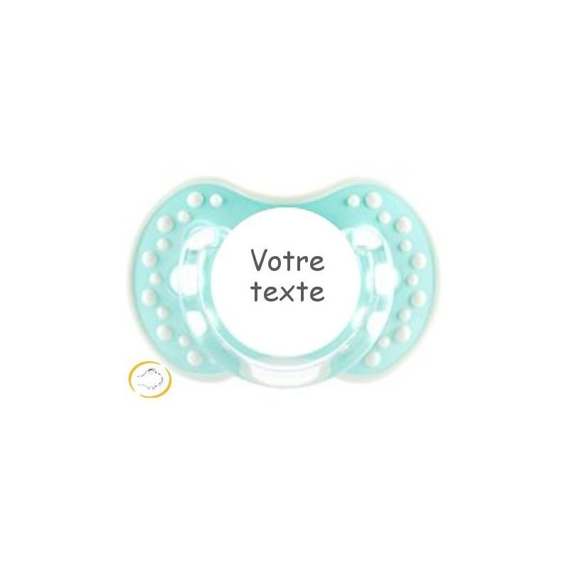 Sucette personnalisée Style turquoise blanc
