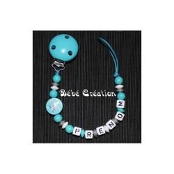 Attache-tétine-personnalisée-etoile-turquoise-argente
