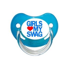 Sucette personnalisée Message - Humour Girls aime my swag sucette personnalisée
