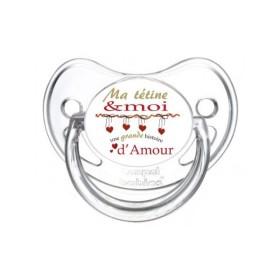 Sucette personnalisée Message - Humour Ma tétine et moi, une grande histoire d'amour tétine personnalisée