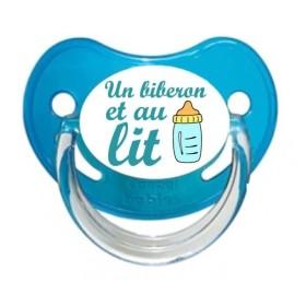 Sucette personnalisée Message - Humour Un biberon et au lit tétine personnalisée