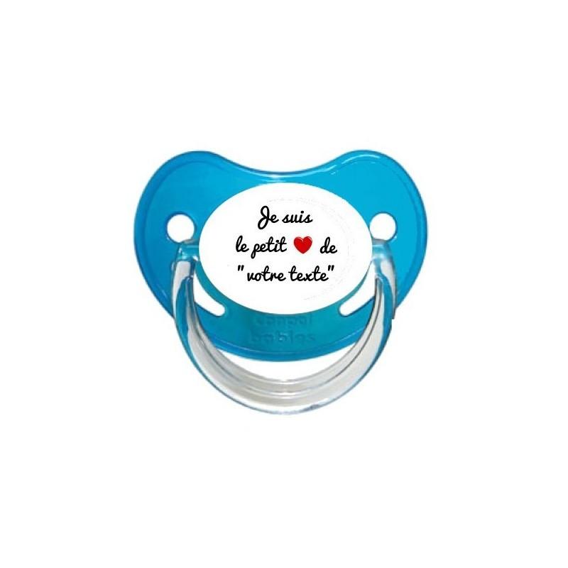 """Sucette personnalisée Message - Humour Je suis le petit coeur de """"Prénom"""" Tétine personnalisée"""