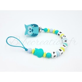 Attache-tetine-personnalise-Hibou-Turquoise
