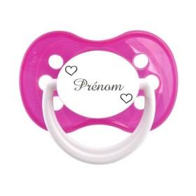 Tétine prénom laser  Prénom Logo - sucette personnalisée Sucette personnalisée 2 coeurs blancs