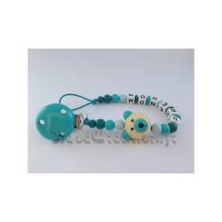 Attache-tétine-personnalisée-ours-3d-turquoise