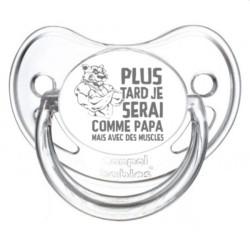 Tétine prénom laser  Humoristique - sucette personnalisée Sucette personnalisée Plus tard je serais comme papa mais avec des ...