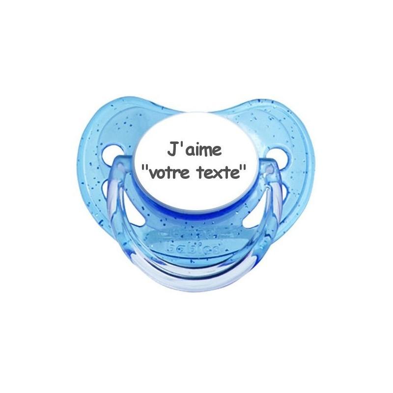 Tétine prénom laser  J'aime... - sucette personnalisée Sucette personnalisée j'aime...