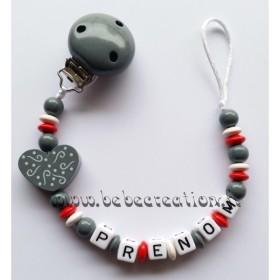 Attache Tétine personnalisé Coeur Attache tétine personnalisé coeur gris