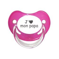 Tétine prénom laser  J'aime... - sucette personnalisée Sucette personnalisée Cœur j'aime mon papa