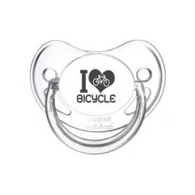 Tétine prénom laser  I love / I like - sucette personnalisée Sucette personnalisée I love Bicyclette