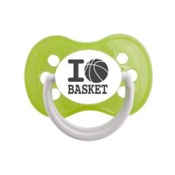 Tétine prénom laser  I love / I like - sucette personnalisée Sucette personnalisée I love Basket
