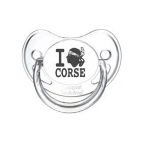 Tétine prénom laser  I love / I like - sucette personnalisée Sucette personnalisée I love Corse