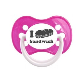 Tétine prénom laser  I love / I like - sucette personnalisée Sucette personnalisée I love sandwich