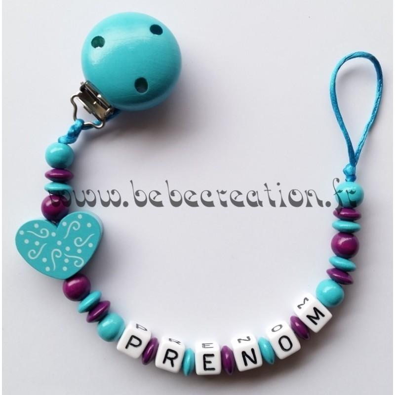 Attache Tétine personnalisé Coeur I love Turquoise Bébé Création