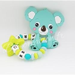 hochet-personnalise-silicone-koala-turquoise