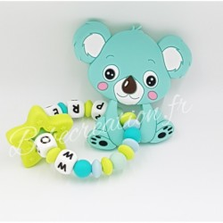 Hochet silicone Koala turquoise personnalisé Hochet perle silicone   Bébé Création