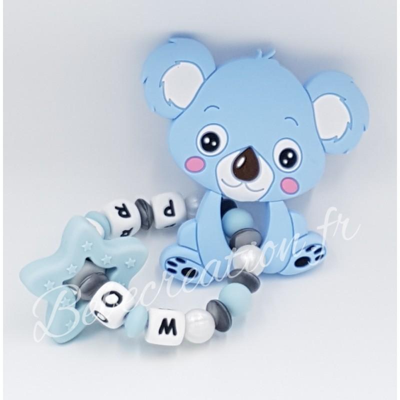 Hochet perle silicone-personnalisable-Hochet silicone Koala bleu-personnalise