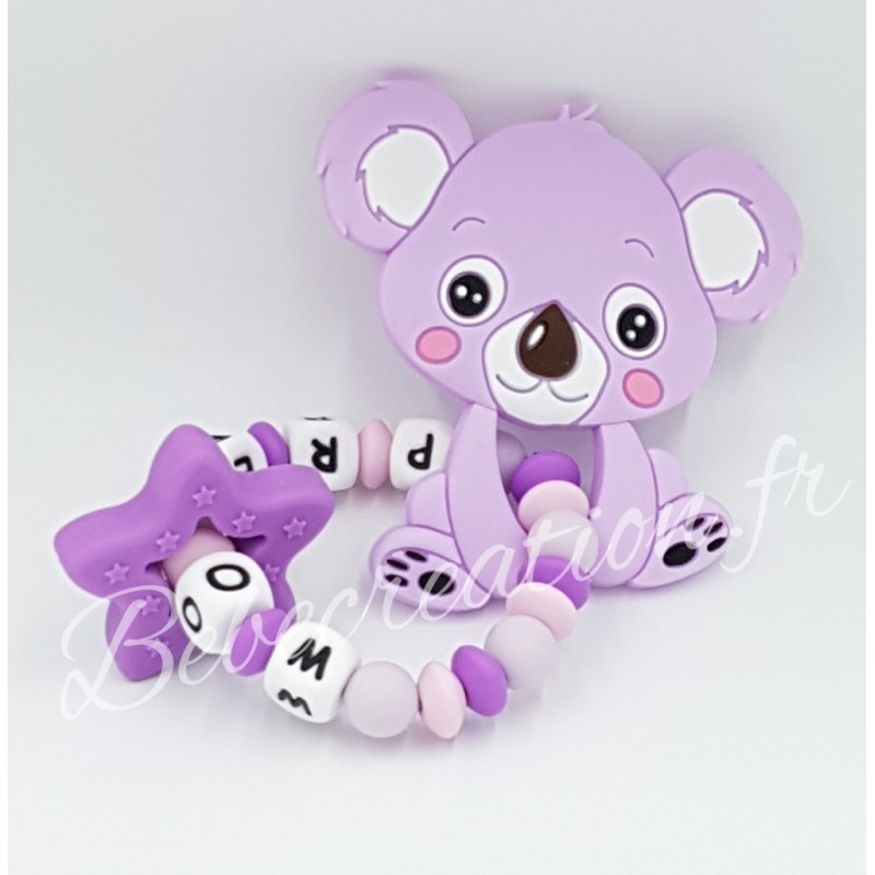 Hochet-perle-silicone-personnalisable-Hochet-silicone-Koala-Parme-personnalise