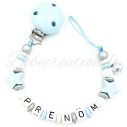 Attache Tétine personnalisé Etoile Etoile Bleu Bébé Création