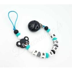 Koala  Koala noir et turquoise Silicone Attache tétine personnalisée silicone prénom - Attache sucette personnalisée prénom s...