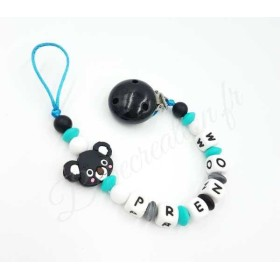 Attache tétine Koala noir et turquoise en silicone