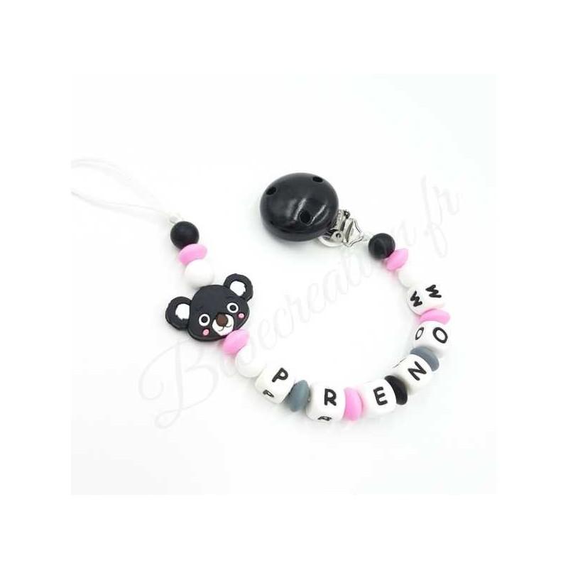 Attache tétine Koala noir et rose en silicone