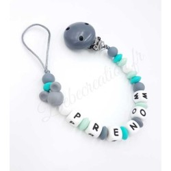 Attache-tétine-personnalisée-silicone-souris-turquoise-grise-mickey