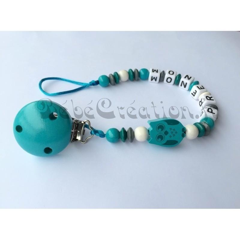 Accroche-tetine-Hibou-Turquoise-en-bois