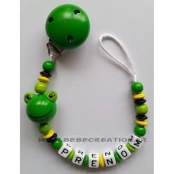 Attache-tétine-personnalisée-grenouille-verte