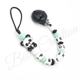 Attache tétine personnalisé Panda menthe en silicone
