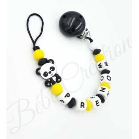 Attache tétine personnalisé silicone Panda   Attache tétine personnalisé Panda Jaune