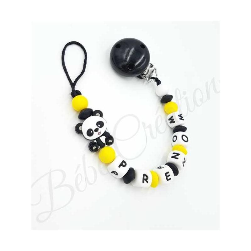 attache-sucette-prenom-silicone-panda-jaune
