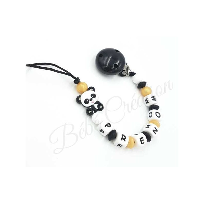 attache-sucette-prenom-silicone-panda-or