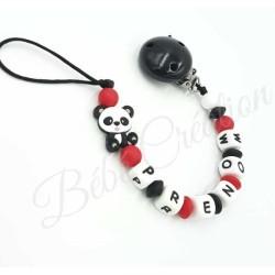 accroche-sucette-prenom-silicone-panda-rouge