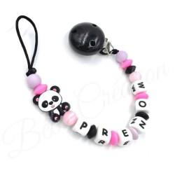 Panda  Panda coloré silicone Attache tétine personnalisée silicone prénom - Attache sucette personnalisée prénom silicone
