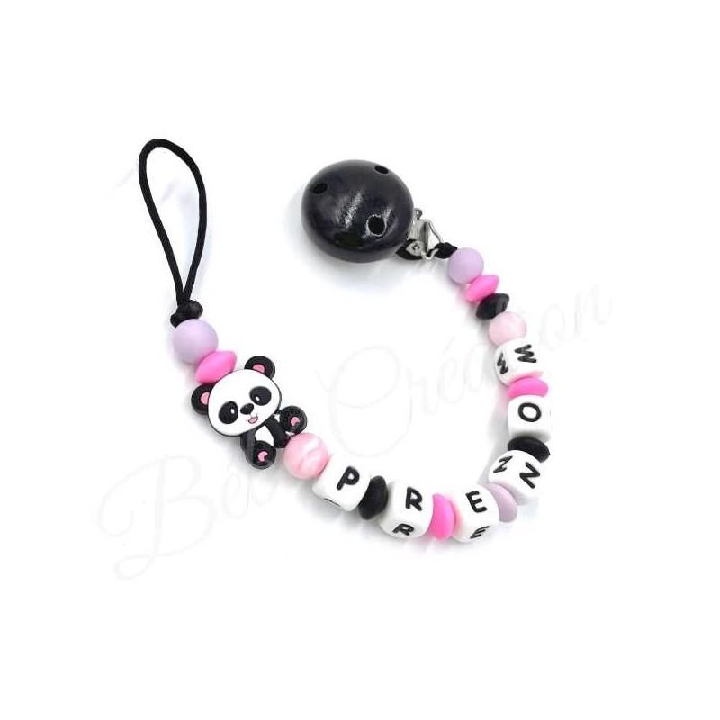 accroche-sucette-prenom-silicone-panda-