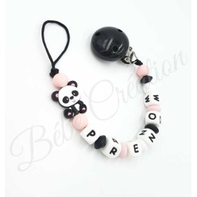 Attache tétine personnalisé silicone Panda   Attache tétine personnalisé Panda rose