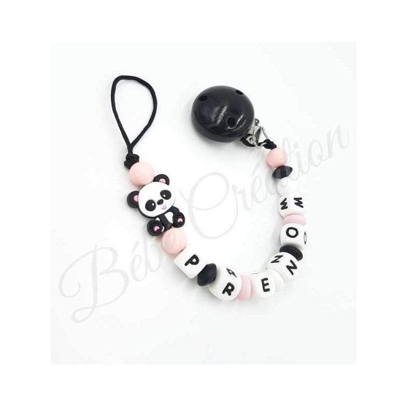 Attache tétine personnalisé Panda rose en silicone
