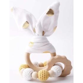 Hochets-perles-en-bois-personnalisable-Jouet-de-dentition-lapin-blanc-or-personnalise