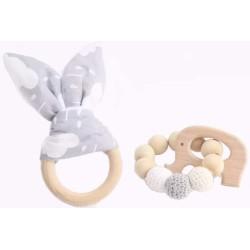 Jouet de dentition lapin blanc gris personnalisé Hochets perles en bois   Bébé Création