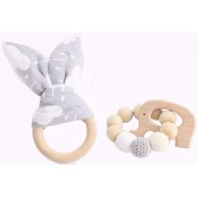 Jouet de dentition lapin blanc gris personnalisé Hochets perles en bois