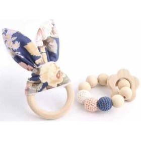 Hochets-perles-en-bois-personnalisable-Jouet-de-dentition-lapin-bleu-fleur-personnalise