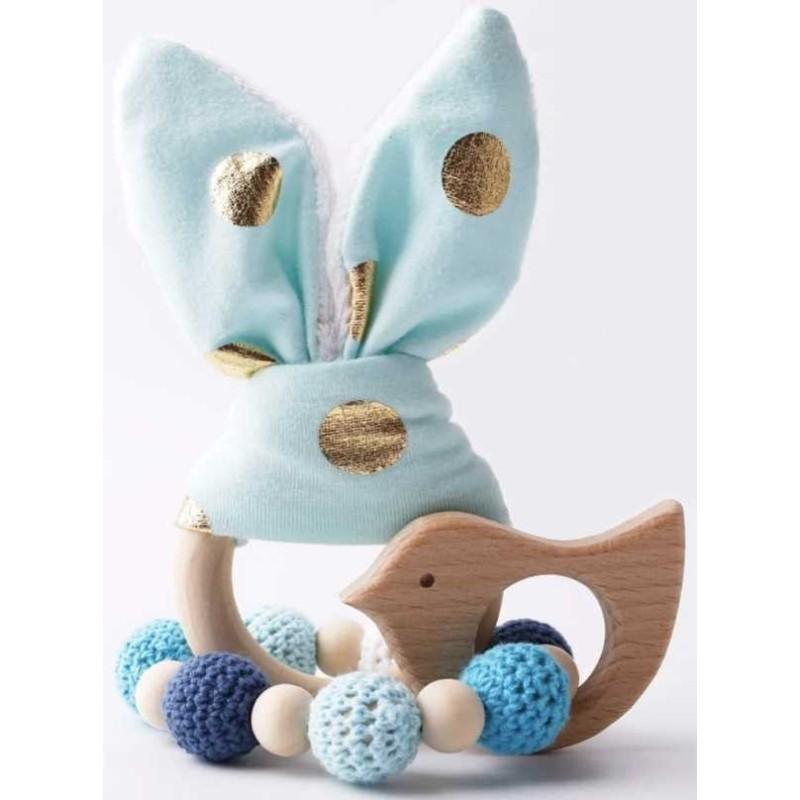 Hochets-perles-en-bois-personnalisable-Jouet-de-dentition-lapin-bleu-or-personnalise