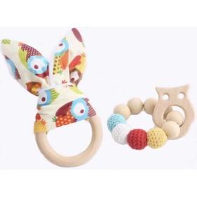 Jouet de dentition lapin multicolore personnalisé Hochets perles en bois
