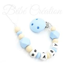 Attache tétine personnalisee silicone hexagone Bleu nature  Bébé Création